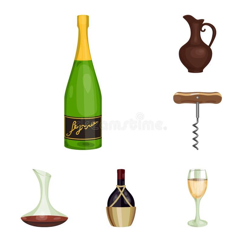 Значки шаржа продуктов вина в собрании комплекта для дизайна Оборудование и продукция вина vector сеть запаса символа иллюстрация штока