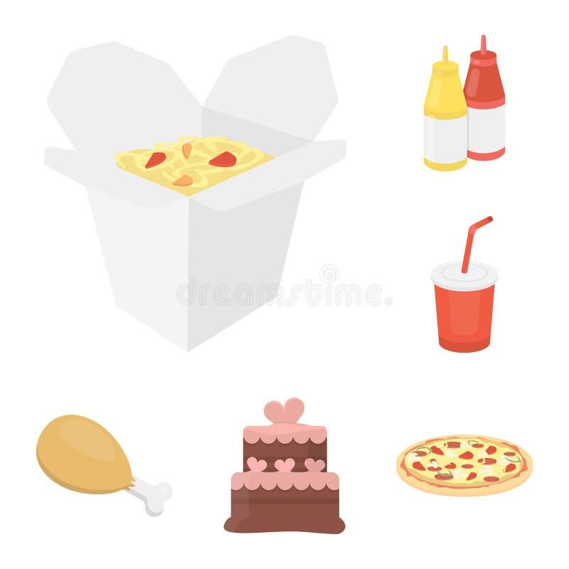 Значки шаржа фаст-фуда в собрании комплекта для дизайна Еда от полумануфактурных продуктов vector сеть запаса символа бесплатная иллюстрация