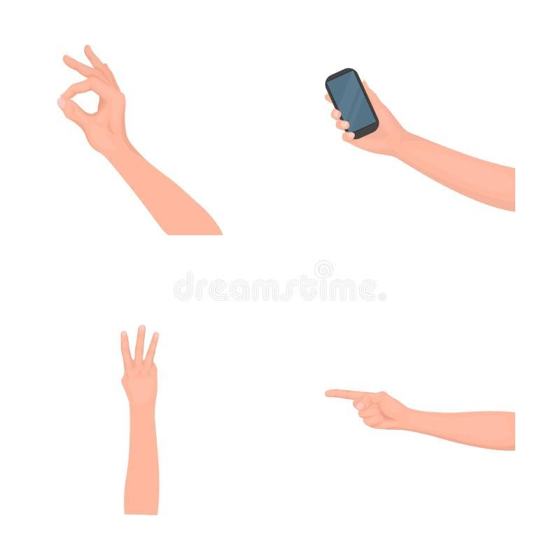 Значки шаржа языка жестов в собрании комплекта для дизайна Эмоциональная часть сети запаса символа вектора связи бесплатная иллюстрация