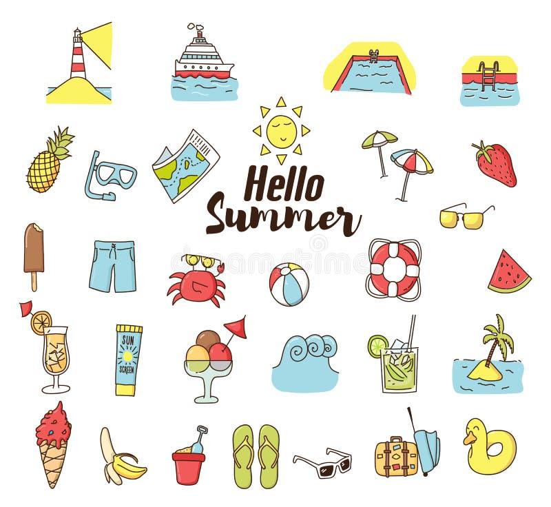 Значки шаржа doodle лета Значки вектора нарисованные рукой Каникулы, путешествуя, приставают праздники и элементы к берегу еды ле иллюстрация вектора