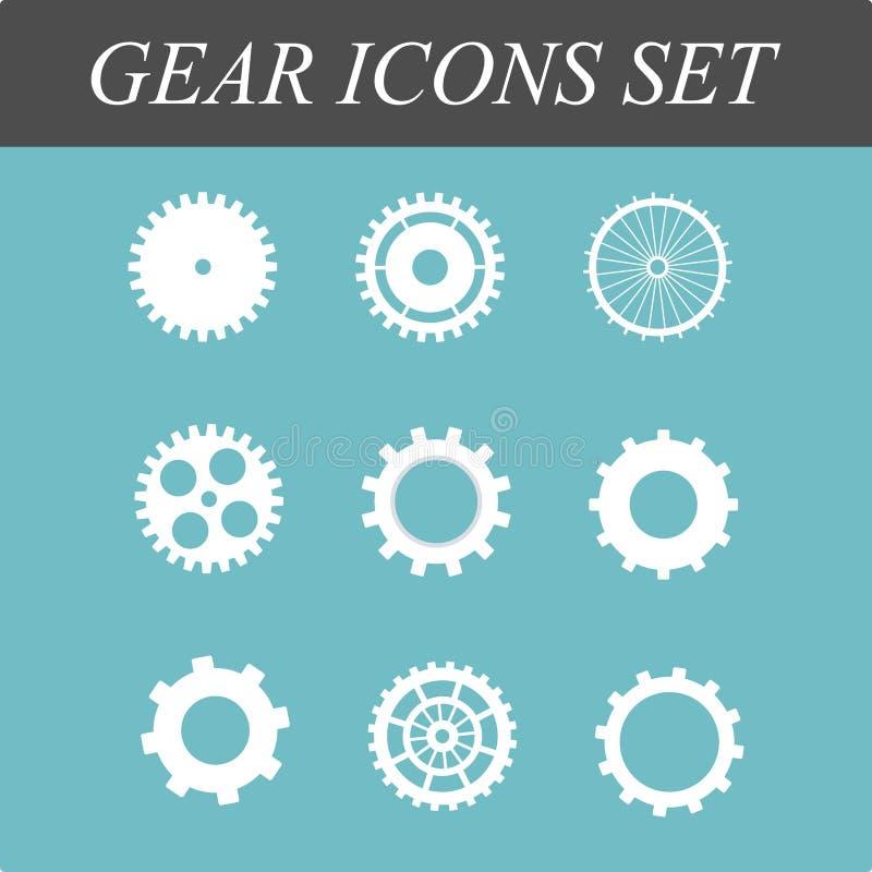 Значки шестерней и cogs плоские установили в иллюстрацию дизайна концепции вектора на изолированной голубой предпосылке иллюстрация вектора