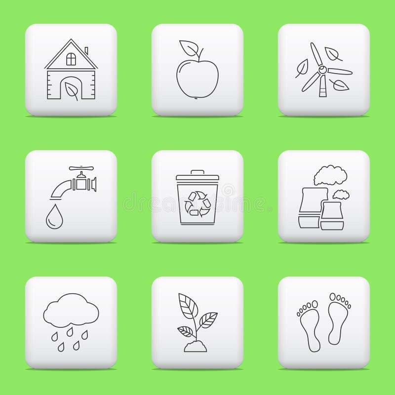 Значки экологичности, кнопки сети иллюстрация вектора