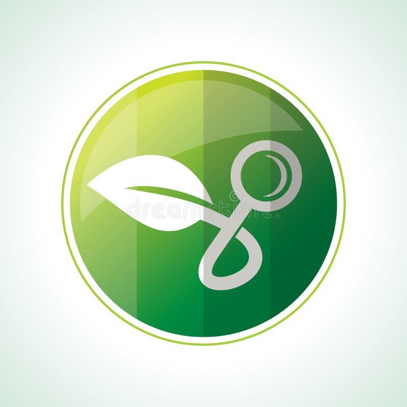 Значки экологичности с листьями зеленого цвета в векторе бесплатная иллюстрация