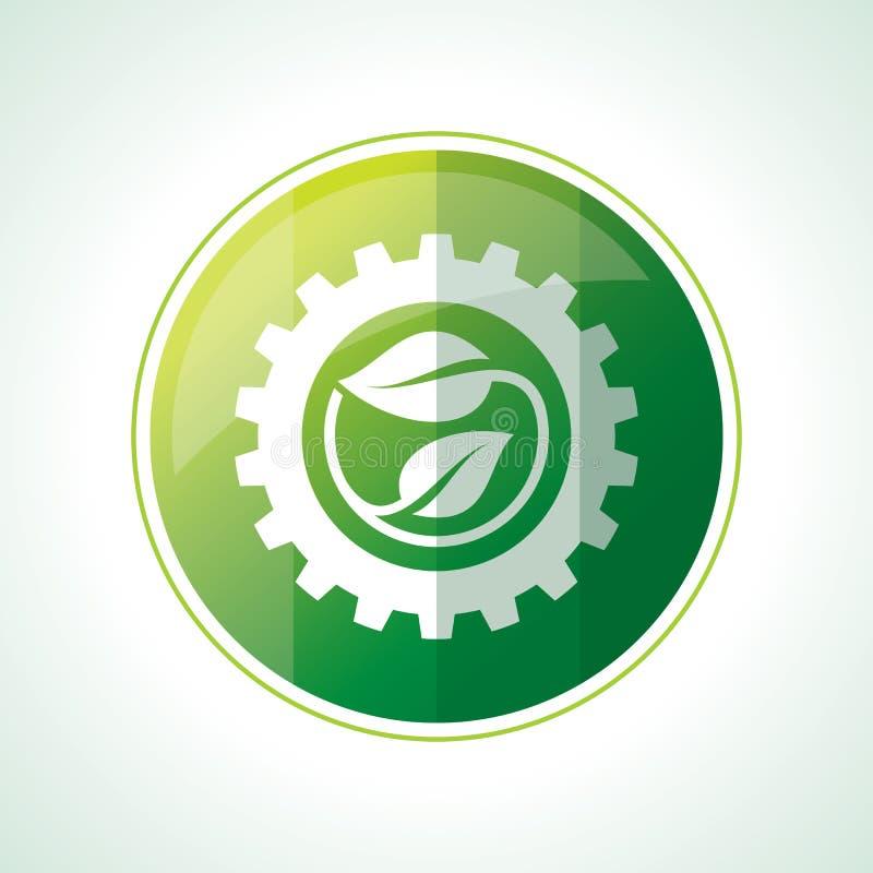 Значки экологичности с листьями зеленого цвета в векторе иллюстрация штока