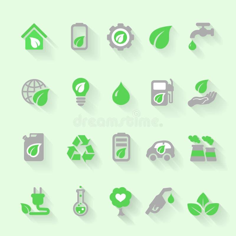 Значки экологичности с окружающей средой, зеленой энергией и бесплатная иллюстрация