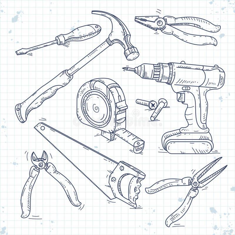 Значки эскиза руки установили инструментов плотничества, пилы, плоскогубцев, отвертки и рулетки иллюстрация штока