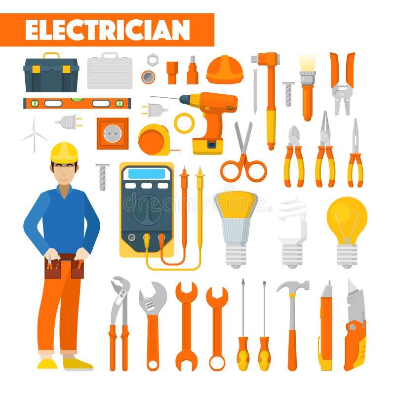 Значки электрика профессии установленные с вольтметром и инструментами иллюстрация вектора