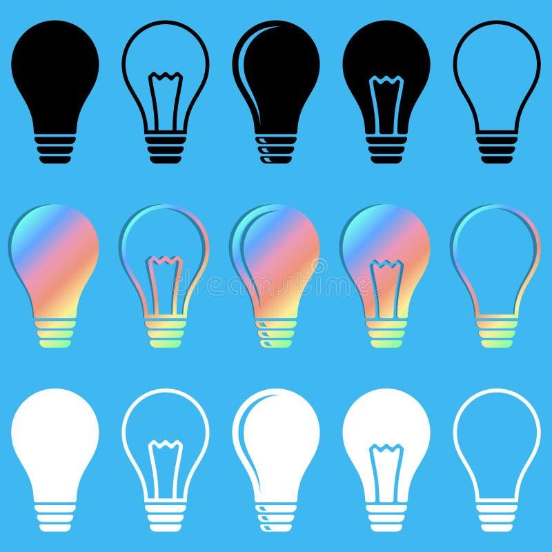 Значки электрической лампочки иллюстрация штока