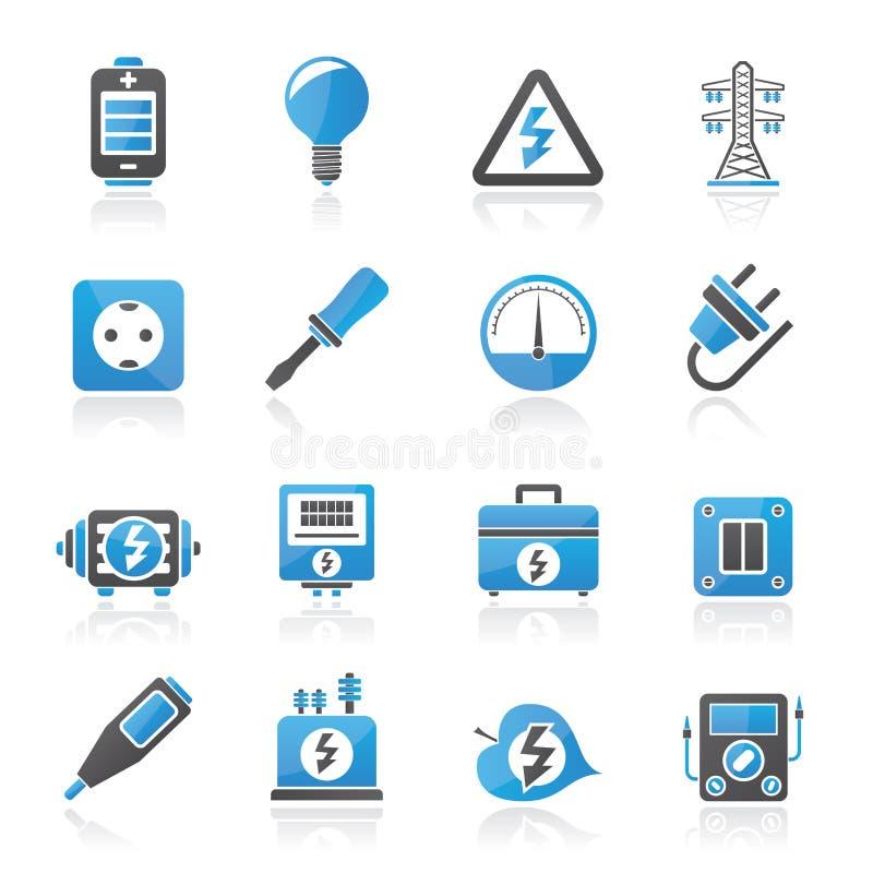 Значки электричества, силы и энергии иллюстрация штока