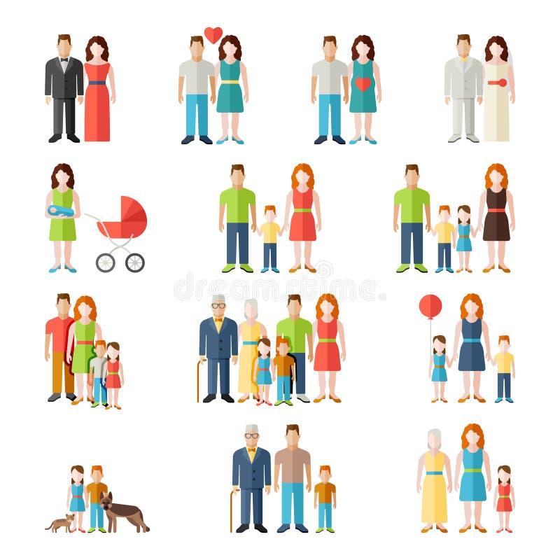 Значки людей стиля семьи плоские иллюстрация штока