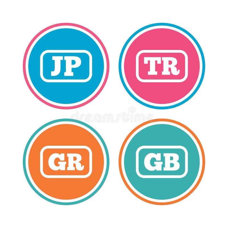 Значки языка Перевод JP, TR, GR и GB иллюстрация вектора