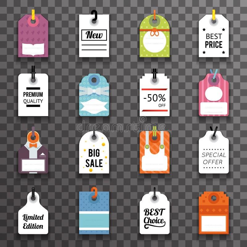 Значки ярлыков символа бирки текста продажи цены установили иллюстрацию вектора шаблона предпосылки Transperent бесплатная иллюстрация