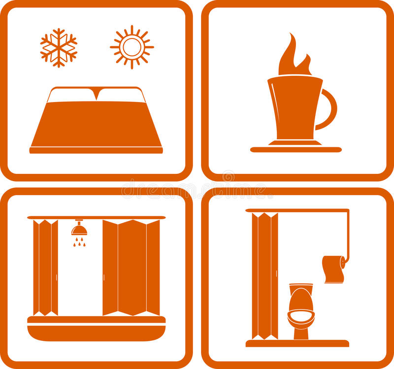 Значки для остатков - знаки гостиницы дороги бесплатная иллюстрация
