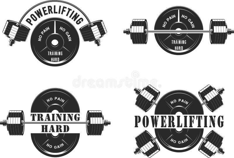 Значки для спортзала и powerlifting иллюстрация вектора