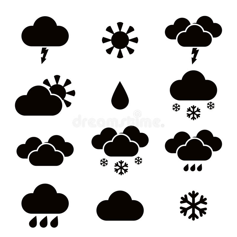 Значки blac погоды иллюстрация вектора