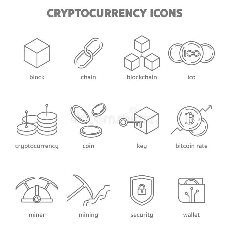Значки blockchain Cryptocurrency иллюстрация вектора