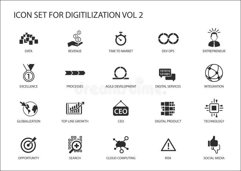 Значки Digitilization для тем любят Dev Ops, данные, цифровые услуги, цифровой продукт, глобализация, технология, integrati иллюстрация штока