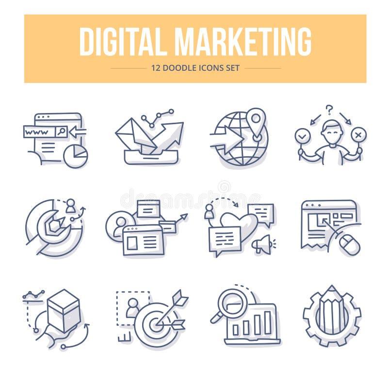 Значки doodle маркетинга цифров бесплатная иллюстрация