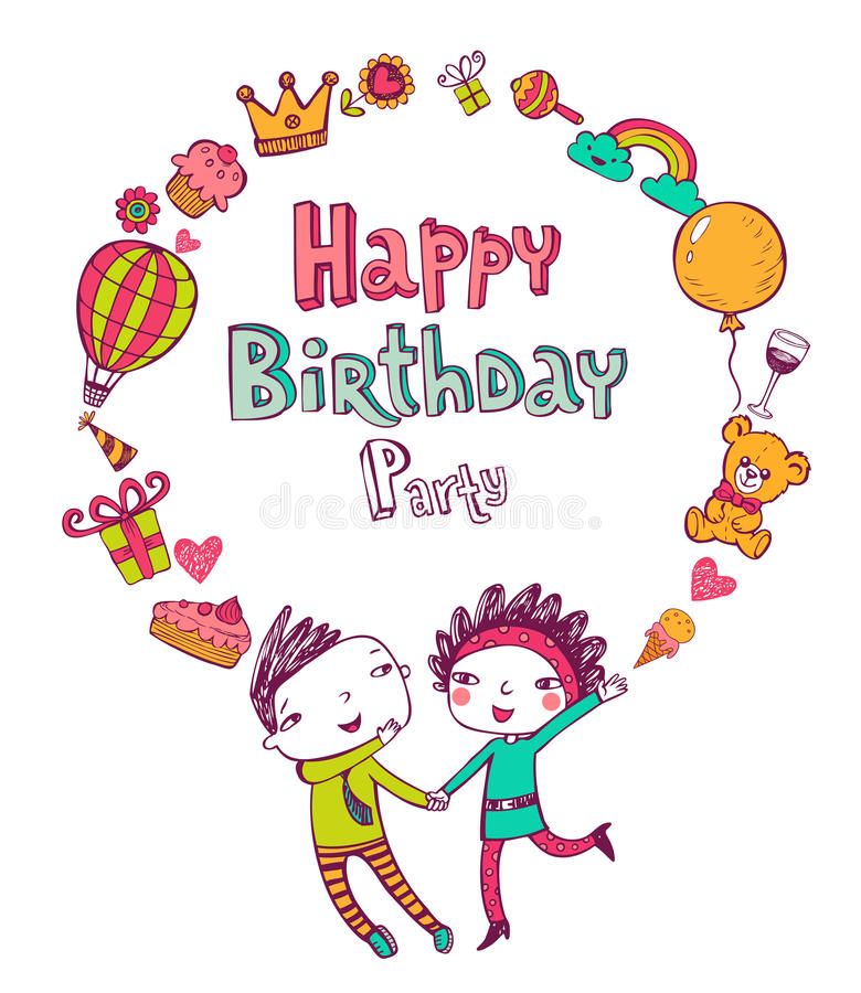Значки doodle дня рождения иллюстрация штока