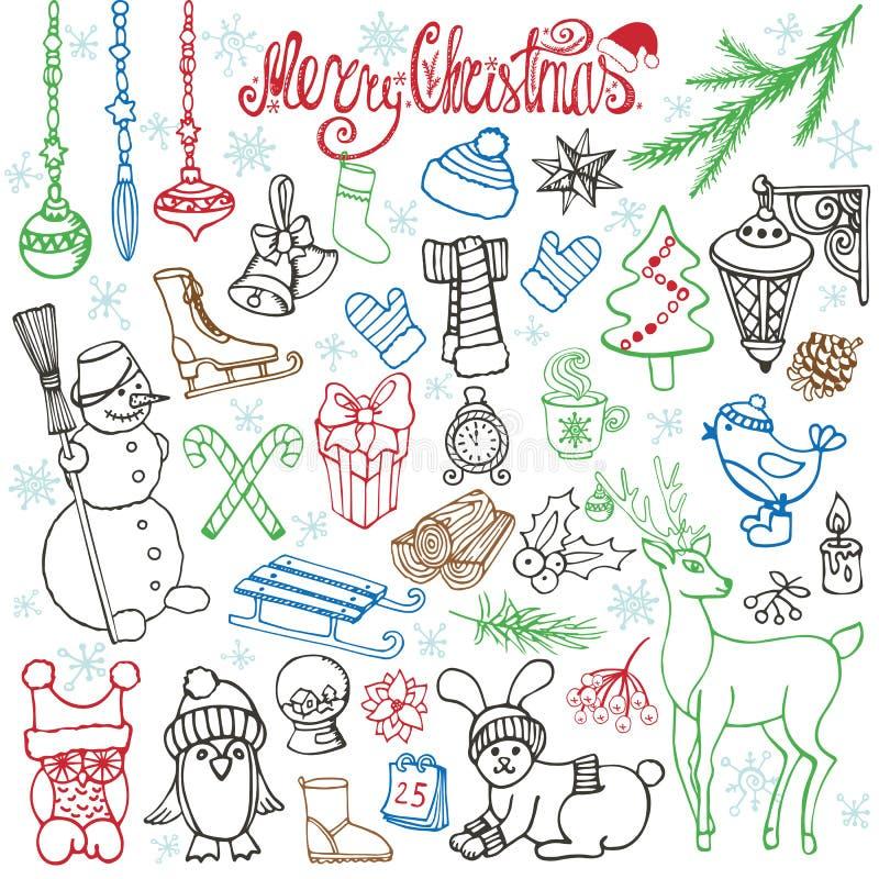 Значки doodle сезона рождества, животные линейно бесплатная иллюстрация