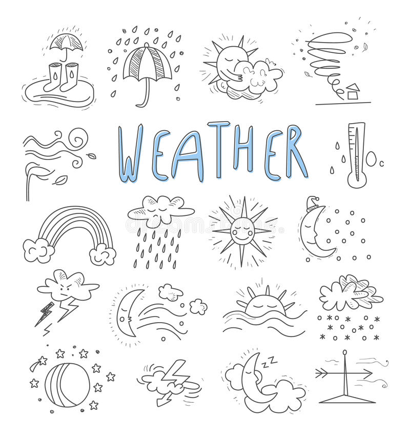 Значки doodle событий погоды шаржа притяжки руки иллюстрация вектора