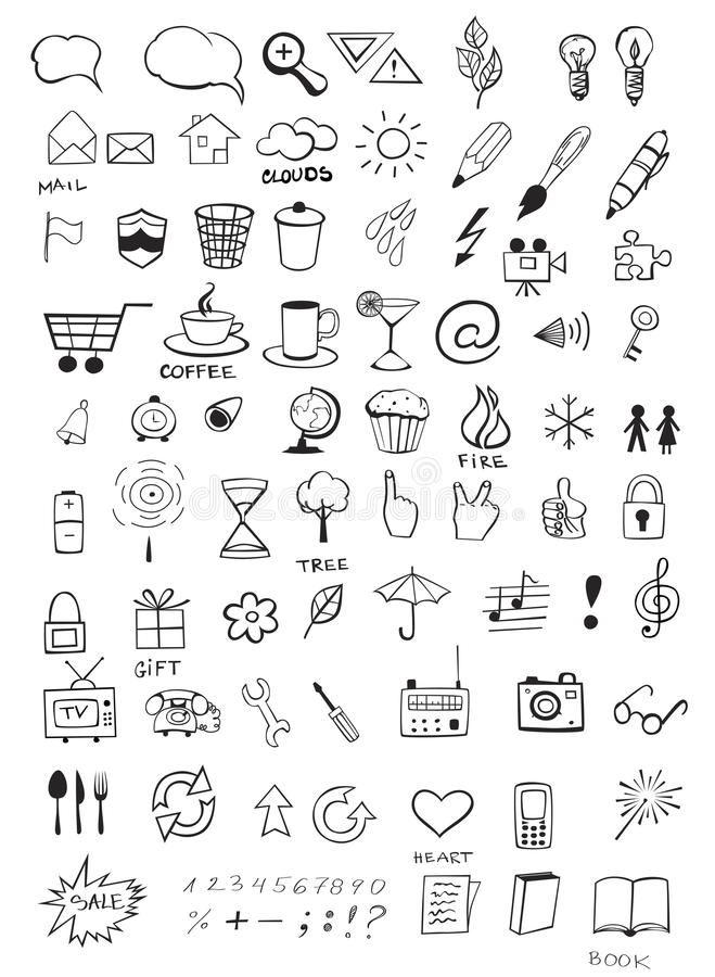 Значки Doodle бесплатная иллюстрация