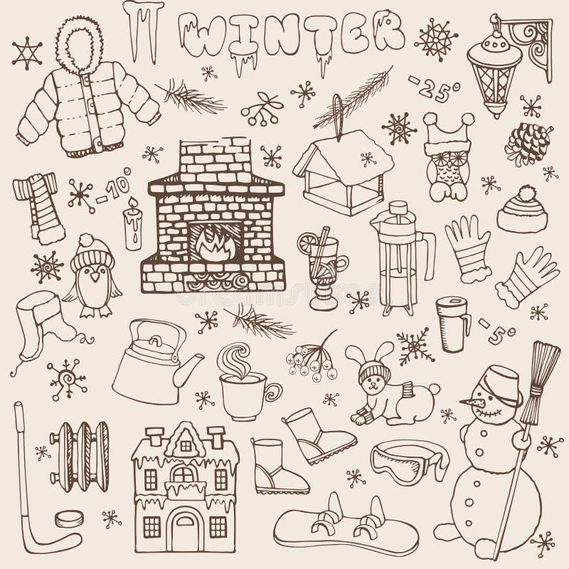 Значки doodle Winteer, комплект элементов линейно бесплатная иллюстрация