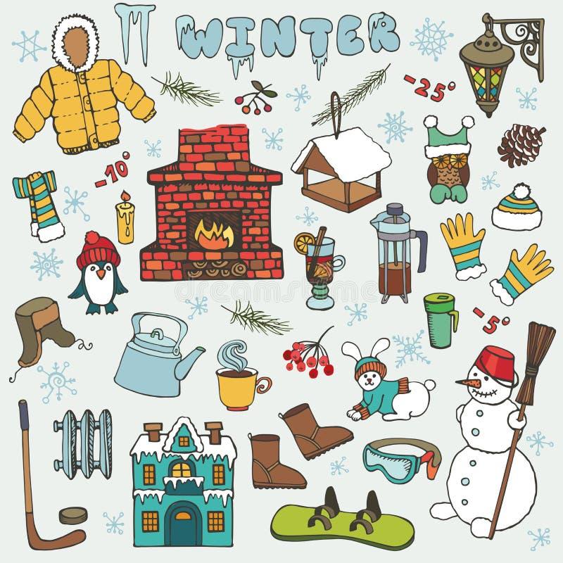 Значки doodle Winteer, комплект элементов покрашено иллюстрация штока