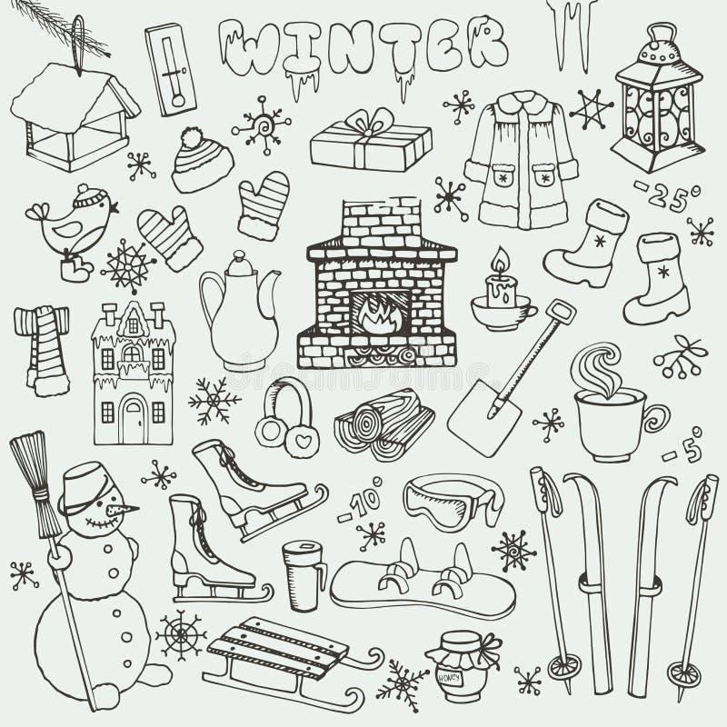 Значки doodle Winteer, элементы Комплект черноты бесплатная иллюстрация