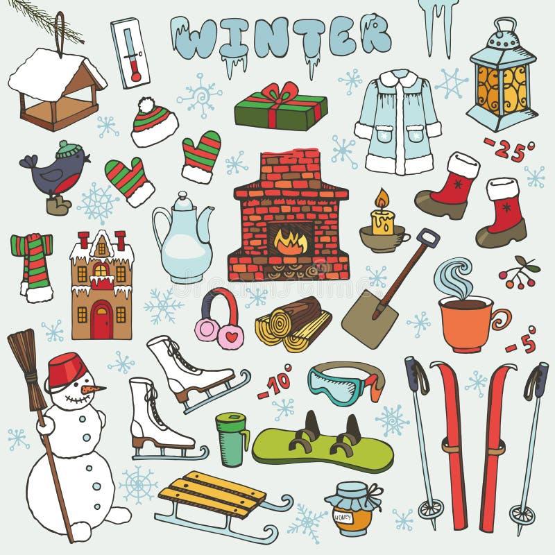 Значки doodle Winteer, элементы Покрашенный комплект иллюстрация штока