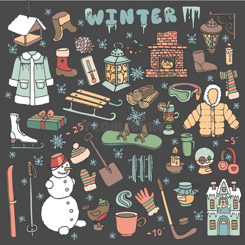 Значки doodle Winteer, элементы Покрашенный набор иллюстрация штока