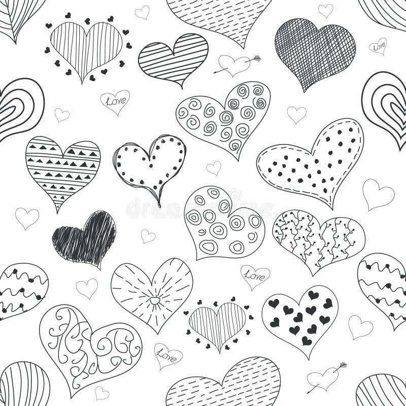 Значки Doodles безшовных сердец влюбленности эскиза картины романтичных ретро установили иллюстрацию вектора дня валентинки s иллюстрация вектора