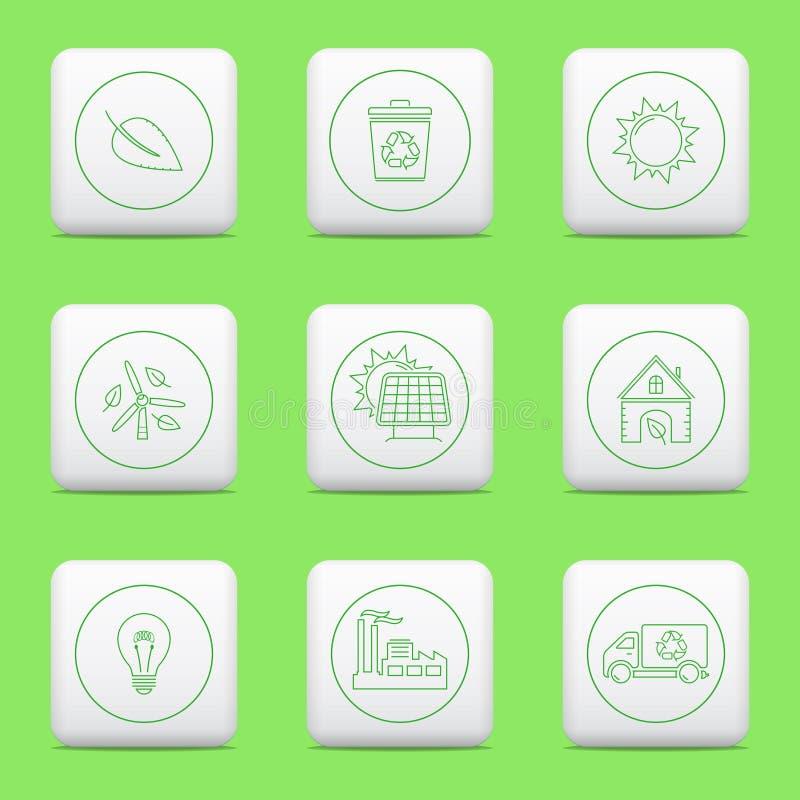 Значки Eco, кнопки сети иллюстрация штока