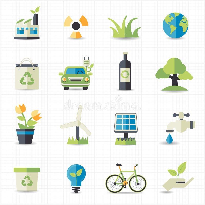 Значки Eco дружелюбные иллюстрация вектора