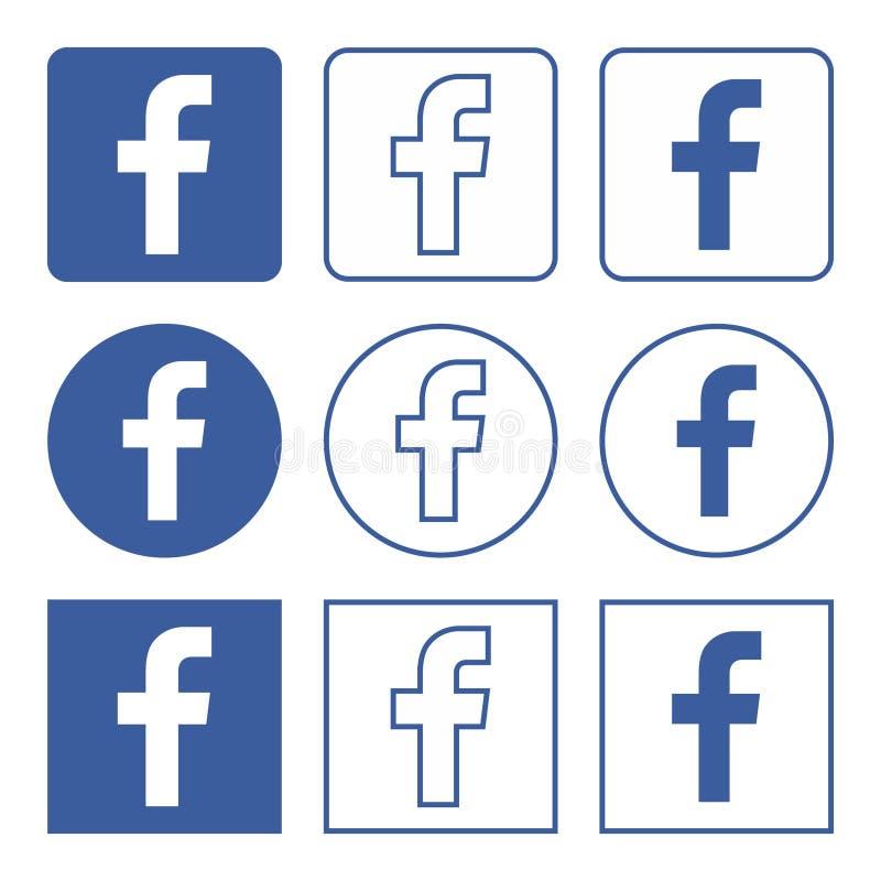 Значки Facebook установили голубой иллюстрация штока