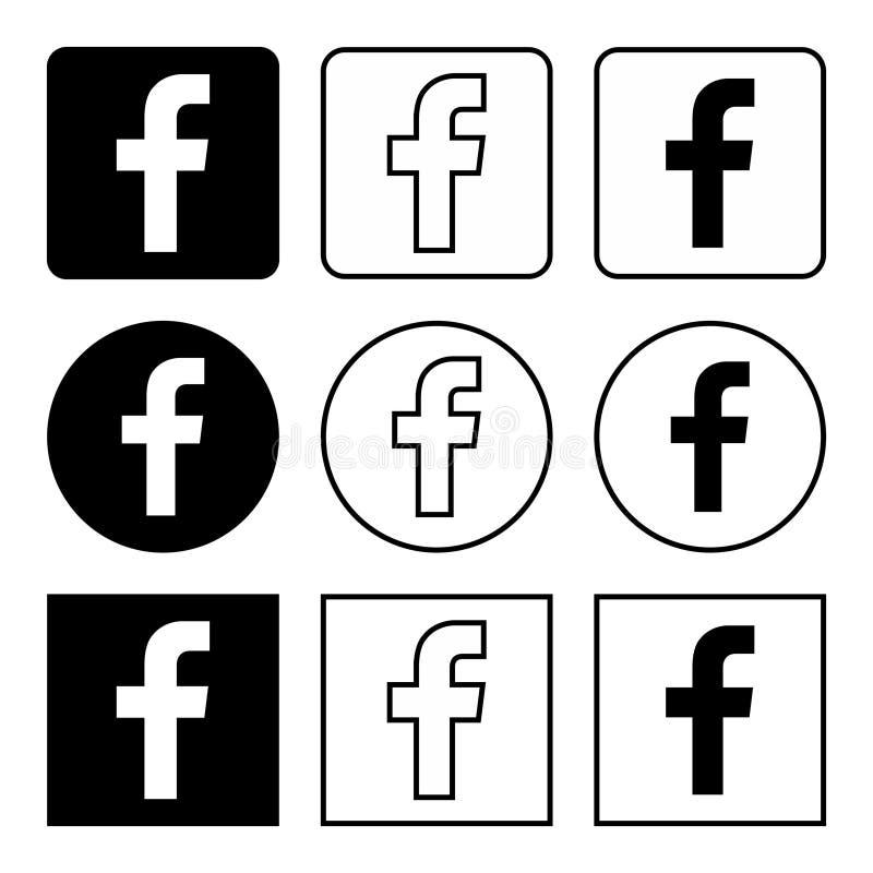 Значки Facebook установили черный иллюстрация вектора