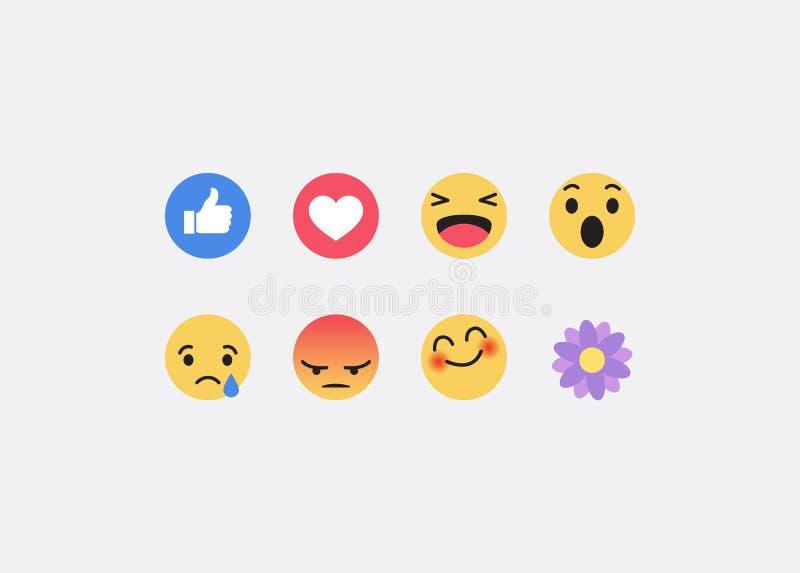 Значки Facebook Emoji Предпосылка средств массовой информации вектора социальная также вектор иллюстрации притяжки corel иллюстрация штока