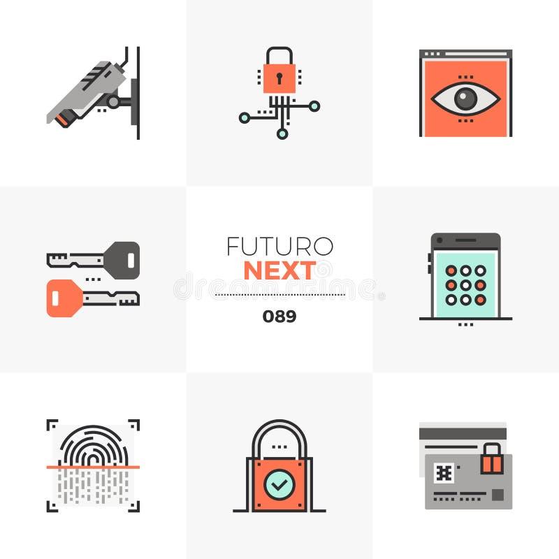 Значки Futuro обеспечения секретности следующие иллюстрация вектора