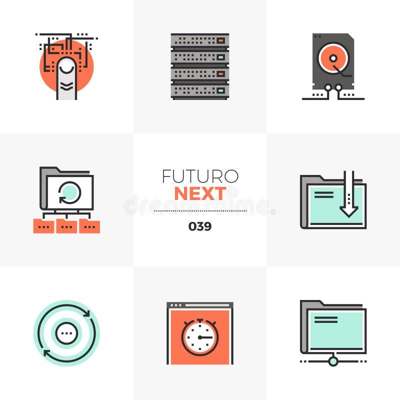 Значки Futuro передачи данных следующие иллюстрация вектора
