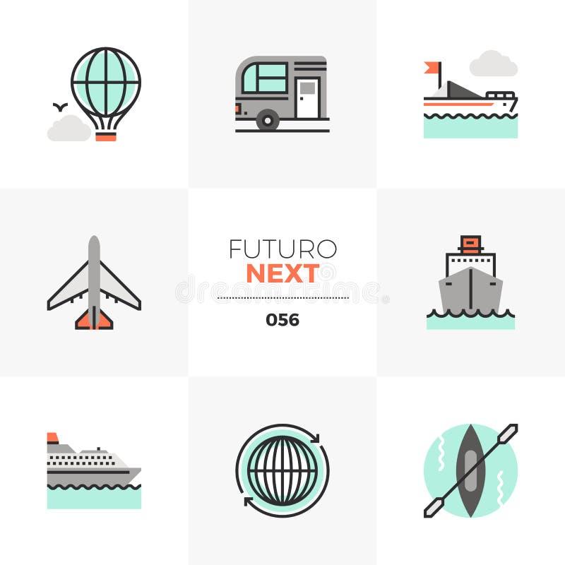 Значки Futuro транспорта следующие иллюстрация вектора