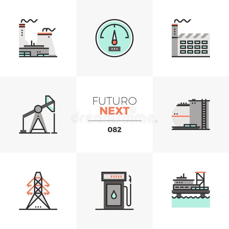 Значки Futuro электростанции следующие иллюстрация вектора