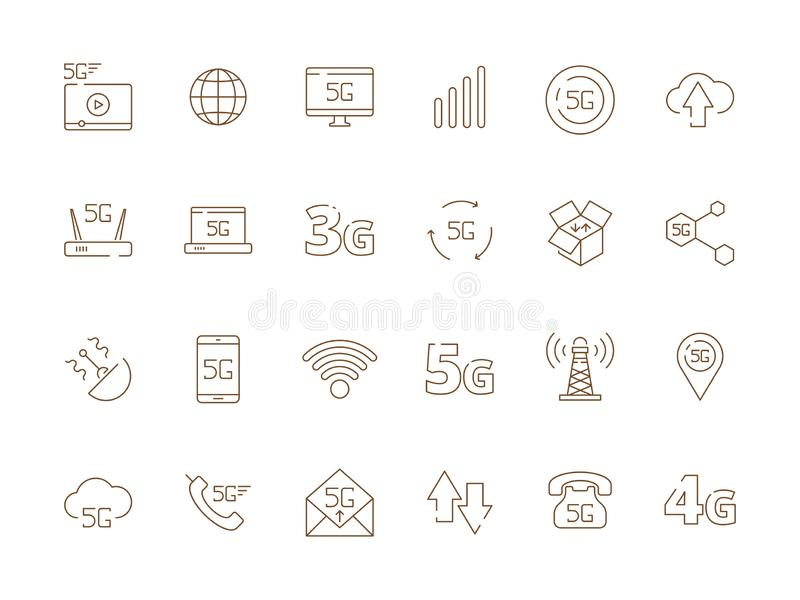 значки 5g Новой технологии радиосвязи сигнала 4g безопасности интернета символы вектора wifi мобильной беспроводной свободные бесплатная иллюстрация