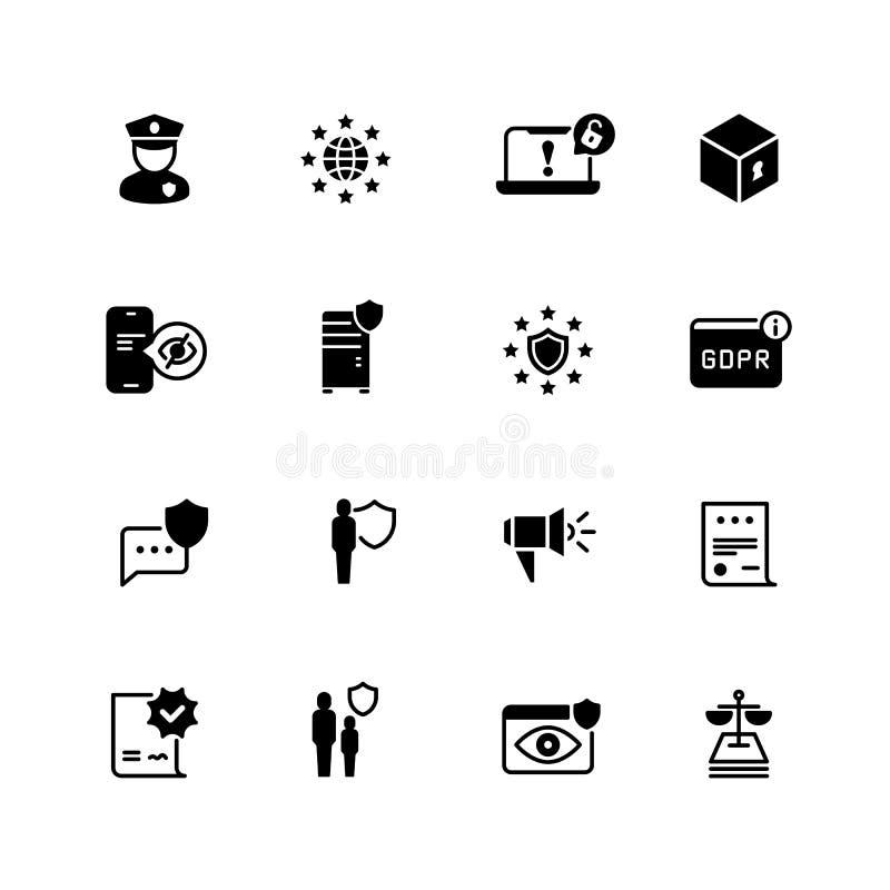 Значки Gdpr Уединение, политика печенья Безопасность мира уступчивая и конфиденциальное дело vector символы иллюстрация вектора