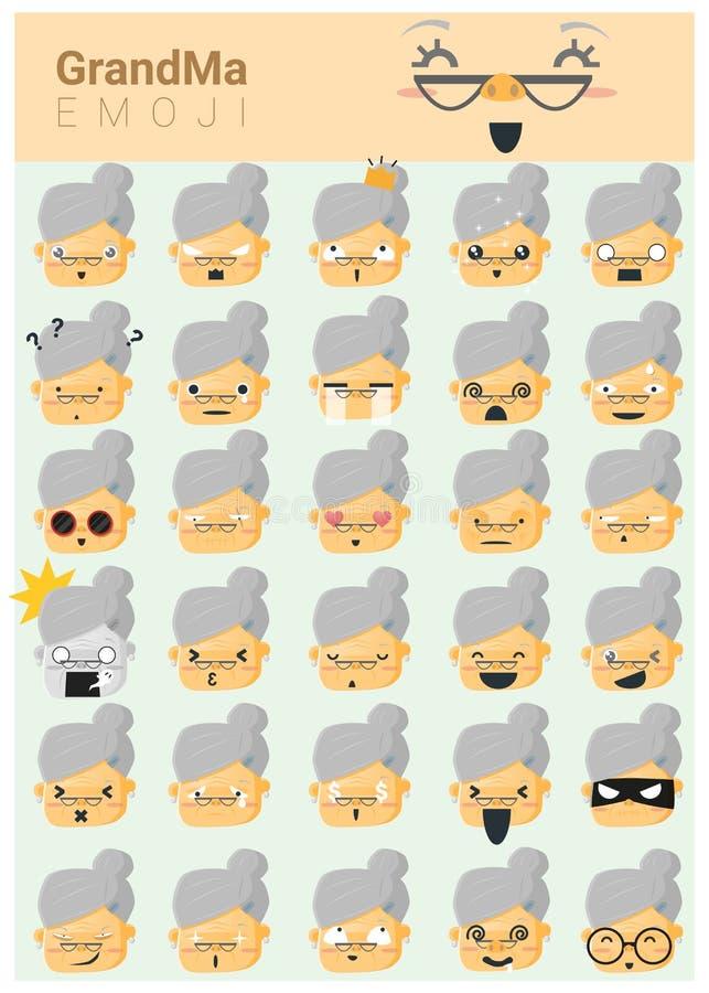 Значки imoji бабушки иллюстрация штока