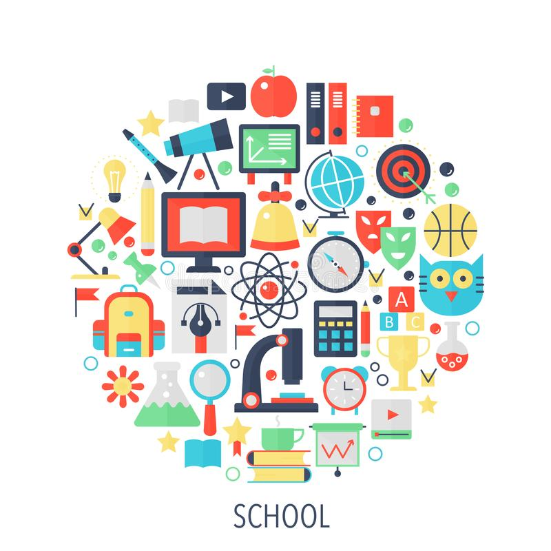 Значки infographics школьного образования плоские в круге - покрасьте иллюстрацию концепции для крышки школы, эмблемы, шаблона бесплатная иллюстрация