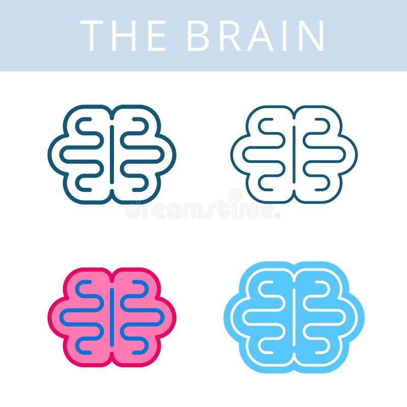 Значки internals Символы плана вектора мозга и cerebrum иллюстрация штока