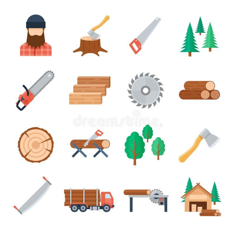 Значки lumberjack вектора установленные в плоский стиль иллюстрация штока