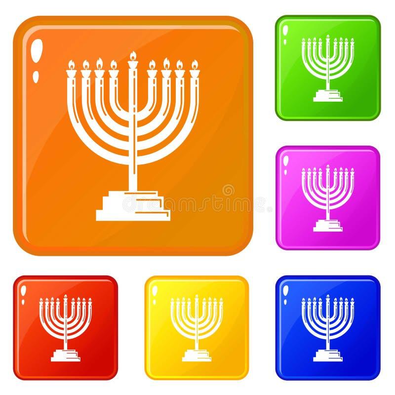 Значки Menorah установили цвет вектора бесплатная иллюстрация