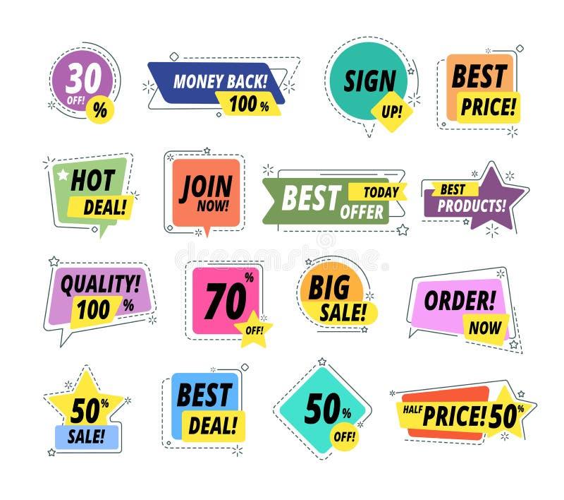 Значки promo продажи Ярлыки гарантии Ценник стикера Promo исключительный наградной самый лучший Набор вектора продажи предложения иллюстрация штока