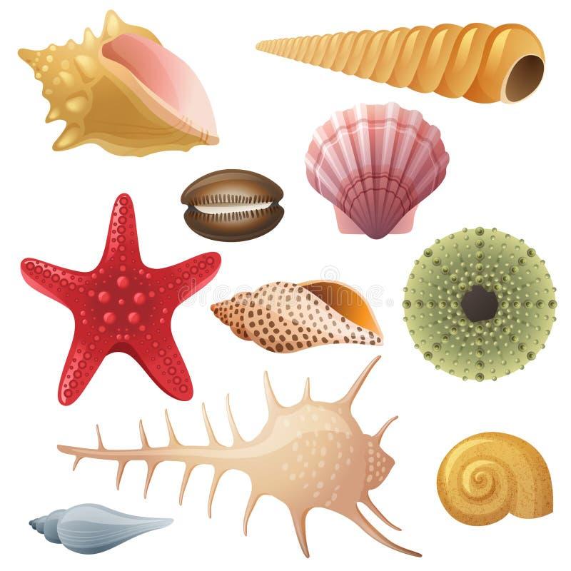 Значки Seashell иллюстрация вектора